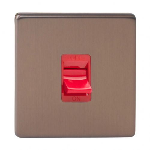 Varilight XDY45SS.BZ Screwless Brushed Bronze 45A DP Cooker Switch Single Plate